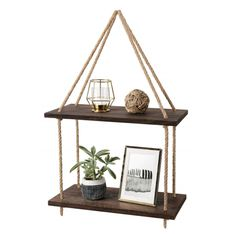 Mkono Wood Hanging Shelf Wall Swing Storage Shelves Jute Rope Organizer Rack, 2 Tier - Home Professional Decoration Hanging Bathroom Shelves, Hanging Storage Shelves, Rope Shelves, Window Shelves, Wood Floating Shelves, Plant Shelves, Shelf Wall, Storage Rack, Storage Ideas