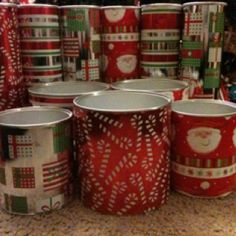 Save cans (such as Pringles or baby formula) and wrap them with festive wrapping paper. They are perfect for cookies, peppermint bark, fudge, etc!