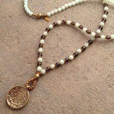 Amazonite and Smoky quartz 108 bead mala necklace with a hand made Tibetan calendar pendant #necklace #mala #necklace #mala