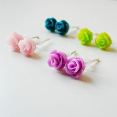 Rose Earrings Set of 4 pair Tiny Roses Lime Green Ear Post Light Pink Earstuds Lavender Purple Studs Teal Flower Earrings