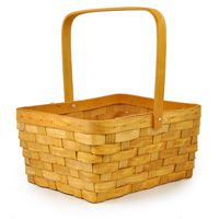 Rect Bamboo Woodchip Weave Swing Handle - Large 11in  for food baskets for kids