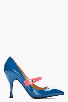Marc Jacobs Mary Jane Recut in Patent Blue with Pink Strap