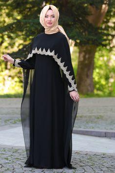 NEVA STYLE - Neva Style - Dantel Pelerinli Siyah Tesettür Abiye Elbise 52597S