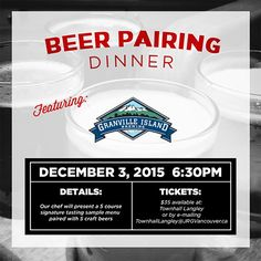 Townhall Langley's Granville Island Craft Beer Pairing Dinner!