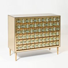 Roberto Giulio Rida; Mirrored Glass, Bronze and Crystal Chest of Drawers, 2007.