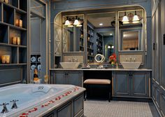 """A couple with three children, expressed a desire to incorporate romance into their bathroom, as well as their daily lives, the designer turned to Normandy and Paris for inspiration. """"The goal was to create a romantic master bedroom bath with spa-style amenities for a French Normandy home,"""""""