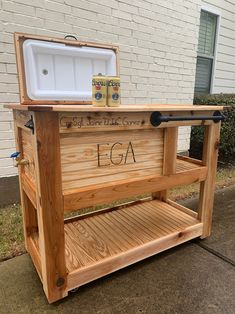 Outdoor Bar Cart, Outdoor Cooler, Cooler Cart, Big Green Egg Grill, Bbq Area, Tongue And Groove, Mini Fridge, Wooden Projects, Wine Rack