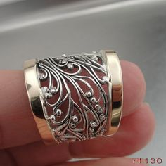 Handcrafted filigree ring of gold and sterling silver by jewela at Etsy Bijoux Design, Schmuck Design, Gold And Silver Rings, Silver Diamonds, Gold Ring, Gold Bangles, Silver Bracelets, Cuff Bracelets, Sterling Silver Jewelry