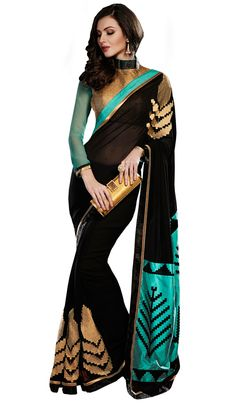 USD 63.74 Black Georgette Party Wear Saree 47592 #Georgette #Sarees