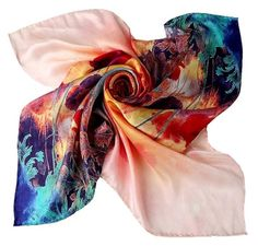 Large Square Silk Scarf  100% Silk Twill High by SummerMatcha