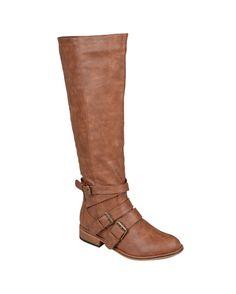 Women's Vienna' Buckle Detail Tall Boots - Chestnut