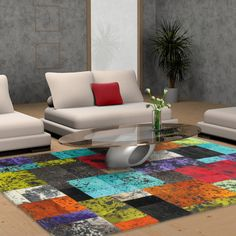 Multi colored Cow hide rug