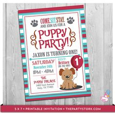 Puppy Invitation: Custom Printable Boys Puppy First Birthday Party Invitations | Puppy Dog Pawty Theme | 1st One Year Old Blue