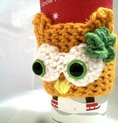 Lady owl coffee cozy-crochet. mustard yellow with green glittery flower