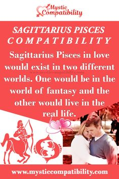 Sagittarius Pisces in love would exist in two different worlds. One would be in the world of fantasy and the other would live in the real life. #Sagittarius #Pisces #Relationship #Compatibility #Sagittarius_Pisces #Relationship_Compatibility #SagittariusPisces #RelationshipCompatibility #Zodiac_Signs Sagittarius And Pisces Compatibility, Pisces Love, Zodiac Compatibility, Pisces Relationship, Relationship Compatibility, World Of Fantasy, Being In The World, Mystic, Zodiac Signs