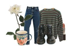 """Rose"" by platinum-smoker ❤ liked on Polyvore featuring Prada, Polish Pottery and Dr. Martens"