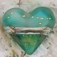 Caribbean Sea Salt Heart Focal handmade glass lampwork bead | beadsandbotanicals - Jewelry on ArtFire