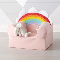 Sale ends soon. No kids room or playroom is complete without a perfectly colorful seat. That's where our super-soft Large Rainbow Nod Chair comes in. Kids Lounge Chair, Kids Armchair, Kids Table And Chairs, Lounge Chairs, Kids Sofa, Office Chairs, Room Chairs, Playroom Furniture, Playroom Decor