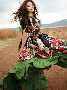 mongolian odval patched dress