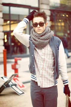 get some kick ass sunglass, think about a lettered jacket, pair em with oversized scarf and jeans and a t/button up