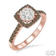 3/4 Ctw White and Champagne Brown Diamond Lovebright Ring in 14K Pink Gold