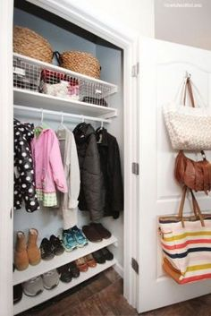 Coat Closet Organization Front Entry Storage Laundry Rooms Ideas For 2019 Front Closet, Hallway Closet, Hallway Storage, Closet Bedroom, Porch Storage, Wardrobe Closet, Closet Doors, Master Bedroom, Hall Closet Organization