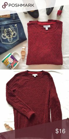"""Kim Rogers red and black crew neck sweater Beautiful red and black sweater - great color for the upcoming holiday season! Gently used, but still in excellent condition. Measurements (laying flat): bust 21"""", length 26"""", arm 25"""" Kim Rogers Sweaters Crew & Scoop Necks"""