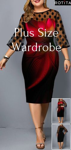 Plus Size Flower Print Dot Mesh Panel Sheath Dress – Bodycon Dress Look Fashion, Girl Fashion, Autumn Fashion, Fashion Outfits, Womens Fashion, African Fashion Dresses, African Dress, Look Plus, Dressy Dresses