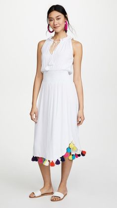 587191c5392 MISA LA Athena Sleeveless Rainbow Tassel Trim Chiffon Maxi Dress White M   247 B9  MISA