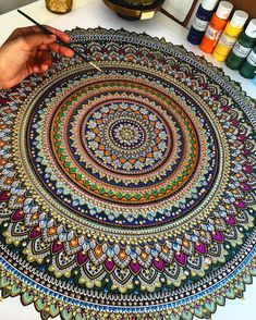 Alhamdulillah the colours came together well. Giveaway winner will be announced on Sunday TAG 3 friends for a chance to win a B&W mandala to colour in yourself. Mandala Doodle, Mandala Canvas, Mandala Art Lesson, Mandala Artwork, Mandala Painting, Mandala Drawing, Mandala Tattoo, Dot Painting, Doodle Art