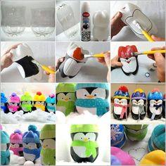Etapes fabrication pingouin avec bouteille pet