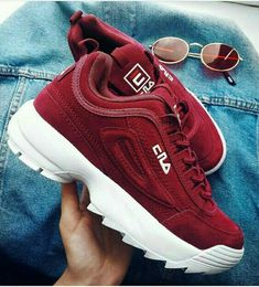 Shoes Sneakers Red Fila Casual style How to wear sneakers Dad sneake Shoes Sneakers Red Fila Casual style How to wear sneakers Dad sneaker Inspiration More on Fashionchick How To Wear Sneakers, Dad Sneakers, Sneakers Sale, Red Fila Shoes, Cute Shoes, Me Too Shoes, Sock Shoes, Souliers Nike, Sneakers Fashion