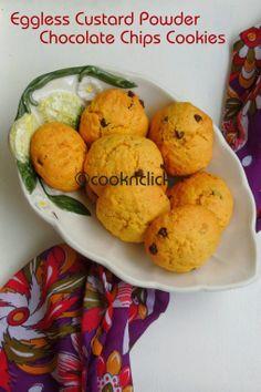 Eggless Custard Powder & Chocolate Chips Cookies -...