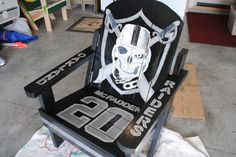 Raiders chair Kick ass Raiders chair, could use a better Raider player on it, but I'm not gonna complain. I'd take it in a heartbeat!