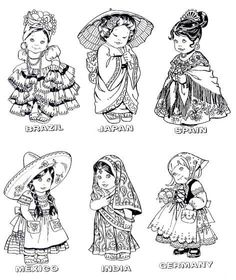 Missions units: Kids around the world coloring images Cute Coloring Pages, Colouring Pics, Printable Coloring Pages, Adult Coloring Pages, Coloring Sheets, Coloring Books, Sue Sunbonnet, World Thinking Day, Kids Around The World