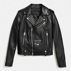 Coach Embellished Easy Moto Jacket ($648) ❤ liked on Polyvore featuring outerwear, jackets, black, zipper jacket, real leather jackets, genuine leather jackets, utility jacket and leather moto jacket