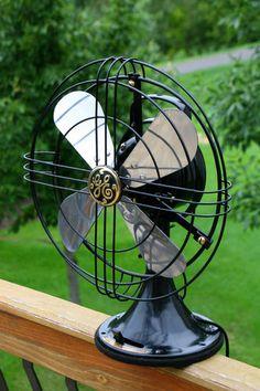 c1936 Antique Oscillating 3 Speed Brass GE electric fan - Restored Antique Fans, Vintage Fans, Old Fan, Electric Fan, Restoration, Hand Fans, Brass, Cool Stuff, Antiques