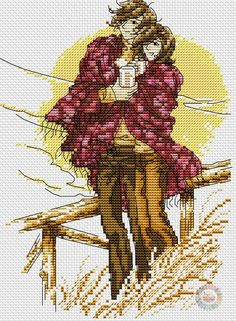 Cross Stitch Kit  Couple In The City Romantic Love Engagement  W
