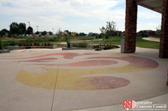 Decorative Concrete Council member, Colorado Hardscapes, installed this Lithocrete and Sandscape flame plaza in Fort Collins, Colorado - winning 1st place in the 2015 DCC Awards for Cast-in-place, special finishes under 5,000 SF