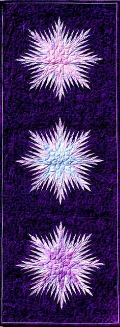Winter Wonderland in purples-shiva paintsticks with freezer paper snowflakes Snowflake Quilt, Paper Snowflakes, Table Runner Pattern, Purple Art, Freezer Paper, Foundation Paper Piecing, Quilted Table Runners, Quilted Wall Hangings, Purple Backgrounds
