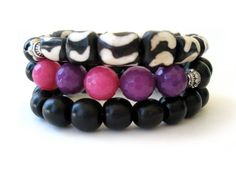 Beaded stretch bracelets handmade by Rock & Hardware Jewelry