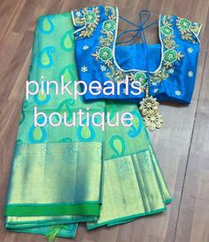 This Pin was discovered by Ras Pattu Saree Blouse Designs, Saree Blouse Patterns, Fancy Blouse Designs, Bridal Blouse Designs, Wedding Saree Collection, Blouse Models, Maggam Work Designs, Indian Designer Wear, Work Blouse