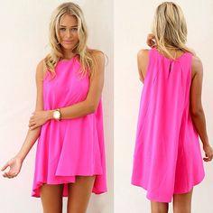 Neon pink shift dress for summer