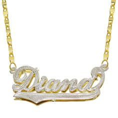 14K Two Tone Gold Personalized Double Plate 3D Name Necklace - Style 3 - Customize Any Name *** Continue to the product at the image link.-It is an affiliate link to Amazon. #Necklace