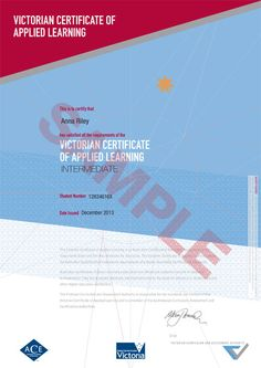 Pages - Sample Certificate - VCAL