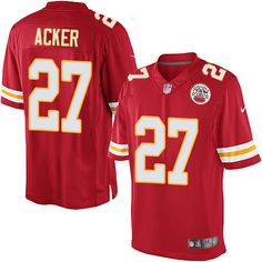 Men's Nike Kansas City Chiefs #27 Kenneth Acker Limited Red Team Color NFL Jersey