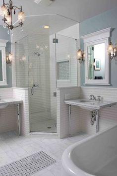 Bath Photos Design,   floor tile pattern and chandelier