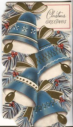 Vintage Christmas Card - String of Blue Bells - Die Cut