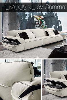 Limousine sofa by Gamma International brings elegance into your home. It can be custom crafted to fit your space.