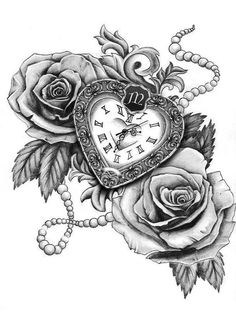 Stunning Clock with Rose Tattoos